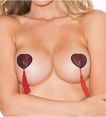 Shirley of Hollywood Satin and Rhinestone Heart Shaped Pasties