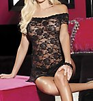 Stretch Lace Chemise And Thong