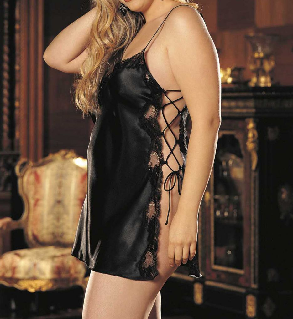Shirley of Hollywood Plus Size Charmeuse Lace Up Chemise