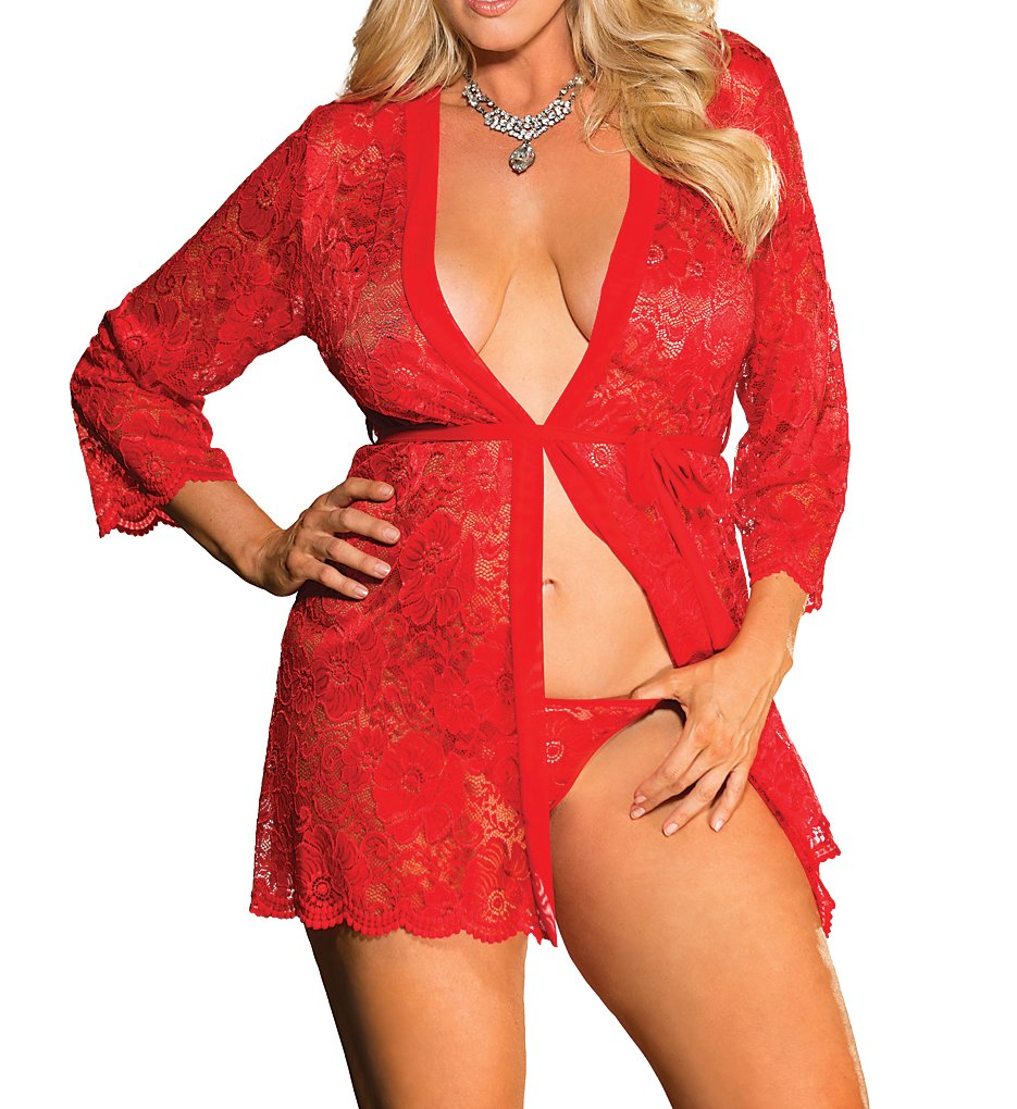 Shirley of Hollywood X31106 Plus Size Stretch Lace Robe With G-String (Red 3X-4X)