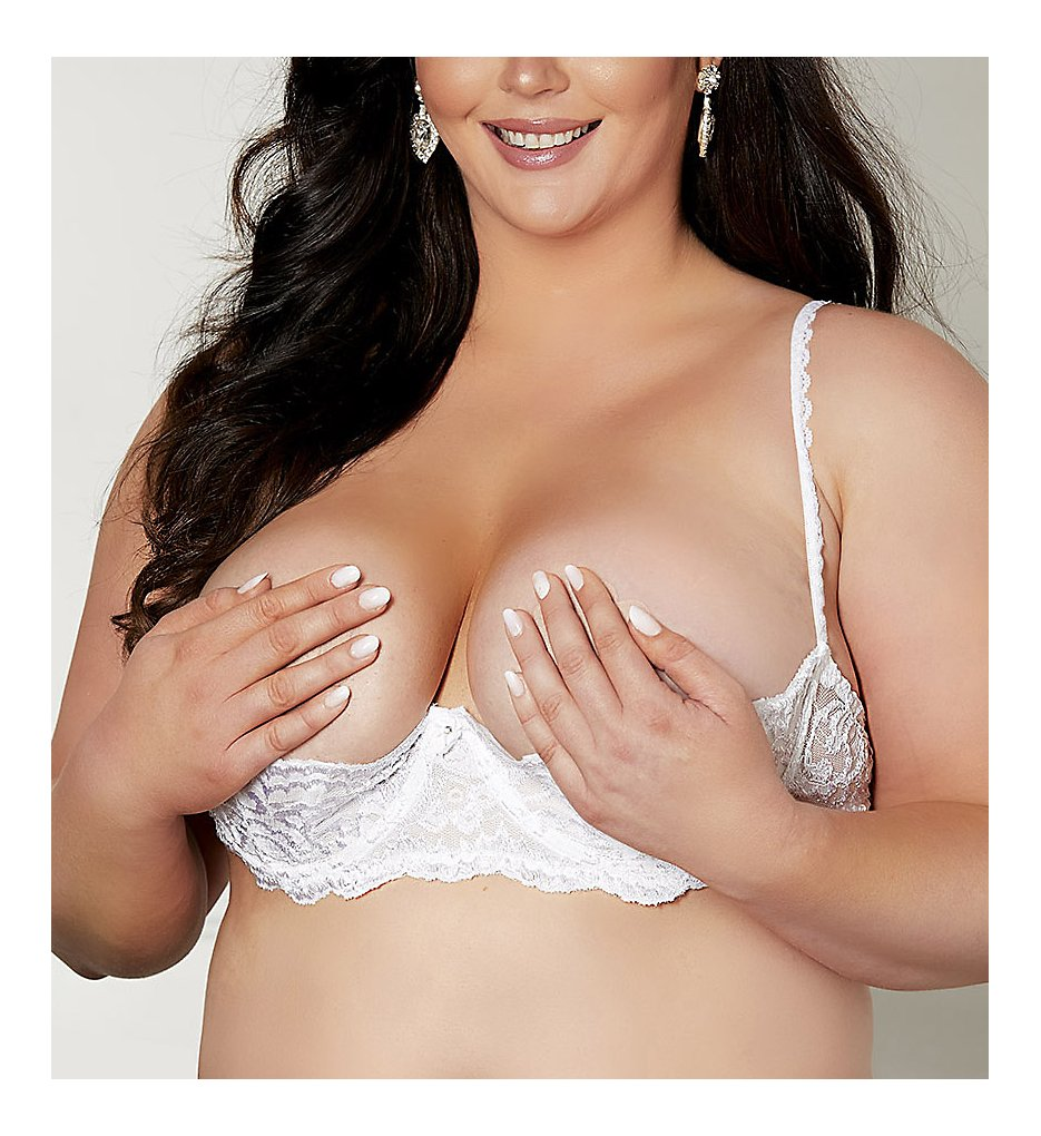 Shirley of Hollywood : Shirley of Hollywood X324 Plus Size Chopper Lace Shelf Bra (White 38)