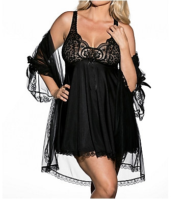 Shirley of Hollywood Plus Size 3 Piece Babydoll Peignoir Set