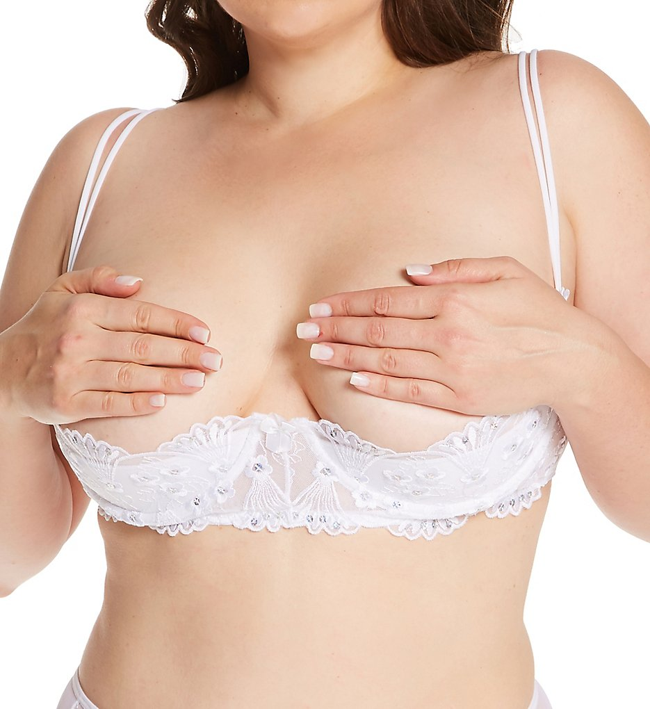 Shirley of Hollywood X380 Plus Size Sequin Embroidered Shelf Bra (White 44)