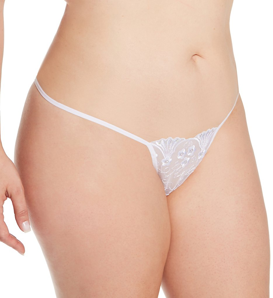 Shirley of Hollywood X66 Plus Size Sequin Embroidered Thong (White 3X-4X)
