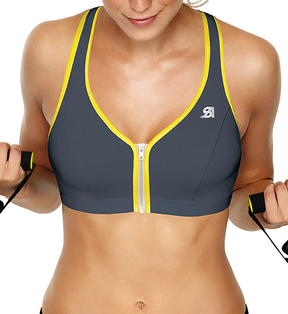 Shock Absorber (1835663) - Shock Absorber S00BW Active Zipped Plunge Sports Bra (Grey/Yellow 34B)