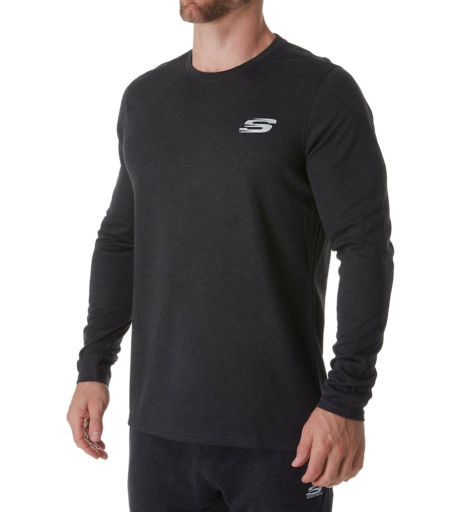 skechers smlt1209 cozy long sleeve crew t-shirt (charcoal heather 2xl)
