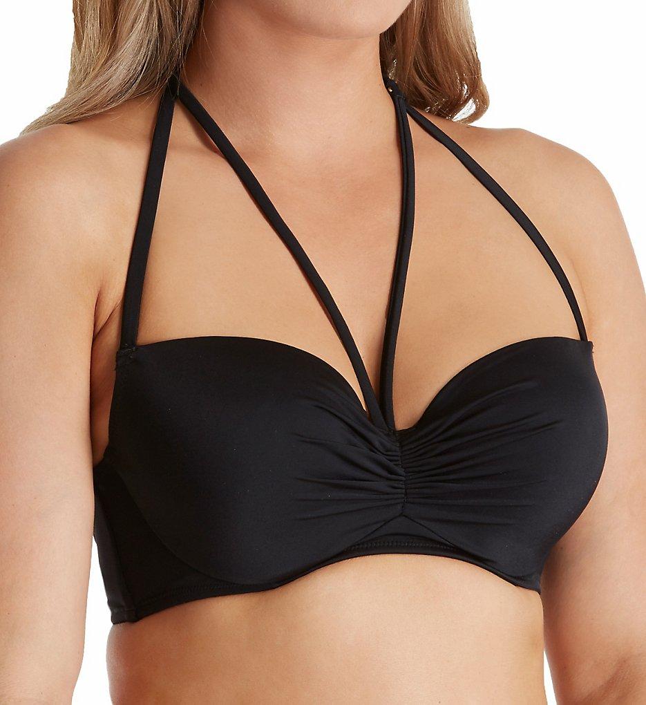 Smart and Sexy SA1001 Swim Secret The Getaway Halter Bikini Swim Top (Black Hue)