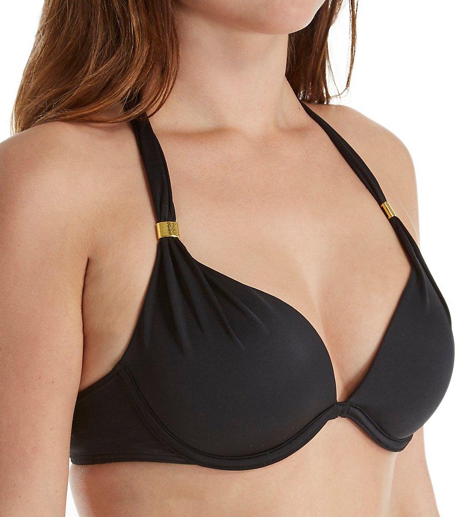 Smart and Sexy SA1005 Swim Secret The Hottie Halter Bikini Swim Top (Black Hue)