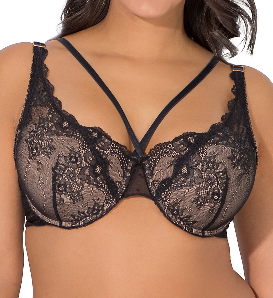 Smart and Sexy - Smart and Sexy SA1204 Curvy Strappy Demi Push-Up Bra (Black hue w/ SandyRose 40D)