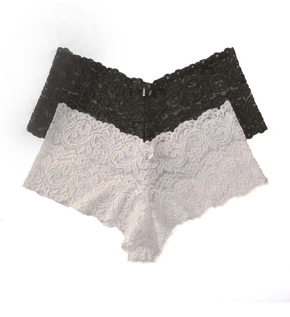 Smart and Sexy - Smart and Sexy SA131 Signature Lace Boyleg Panty - 2 Pack (Black Hue/White 6)
