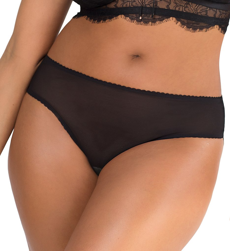 Smart and Sexy - Smart and Sexy SA906 Curvy High Rise Mesh & Lace Bikini Panty (Black Hue 6)