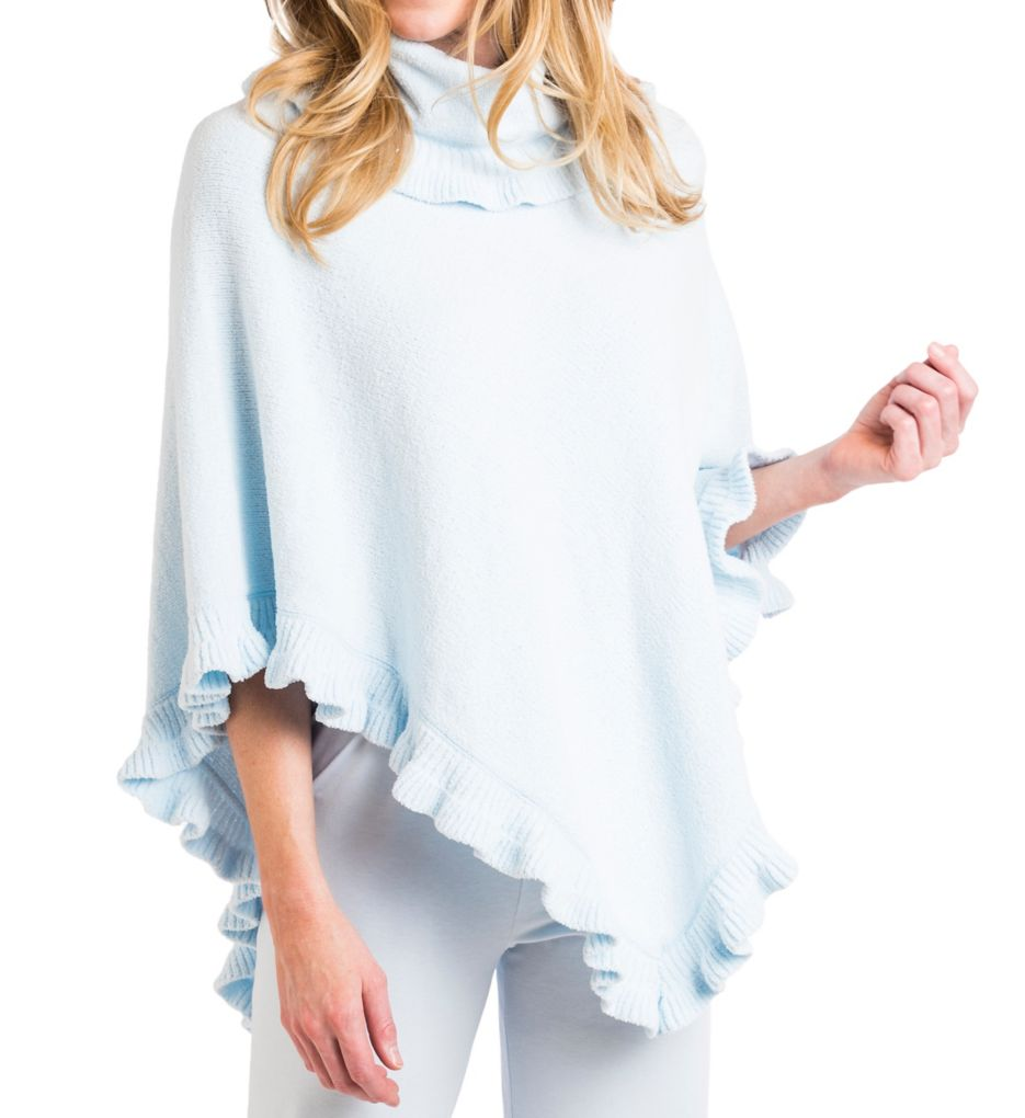 Softies by Paddi Murphy Chenille Ruffle Funnel Neck Poncho