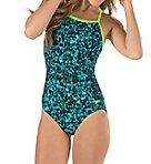 Endurance Lite Print J-Hook One Piece Swimsuit