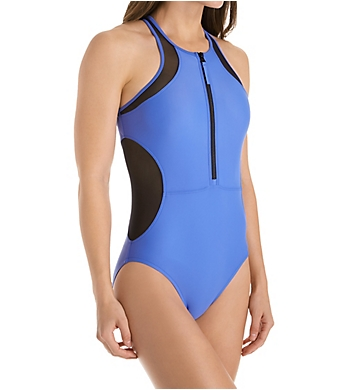 Speedo Powerflex Eco Mesh High Neck One Piece Swimsuit