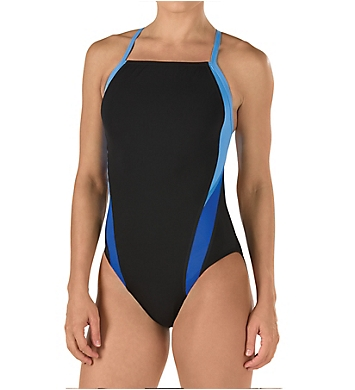 Speedo Launch Splice Cross Back One Piece Swimsuit