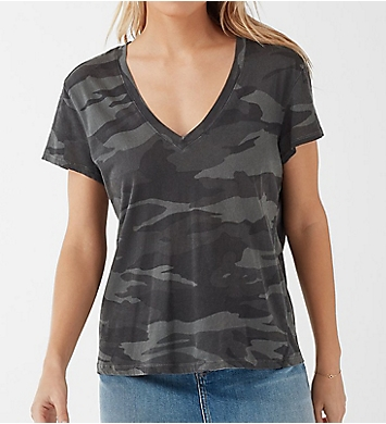 Splendid Kate Cotton Camo Short Sleeve V-Neck Tee