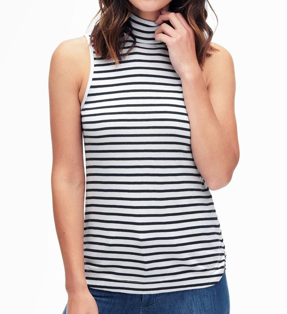Splendid 1X1 Stripe Turtleneck Sleeveless Tee