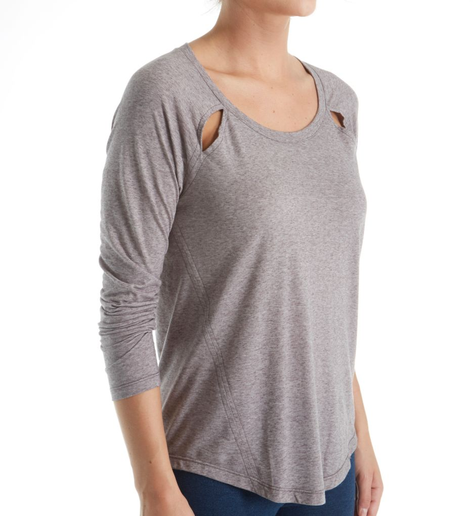 Splendid Tri Blend Jersey Cut Out Long Sleeve Tee