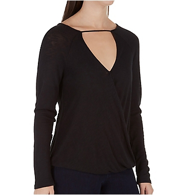 Splendid Heavy Slub Surplice Neck Detail Tee