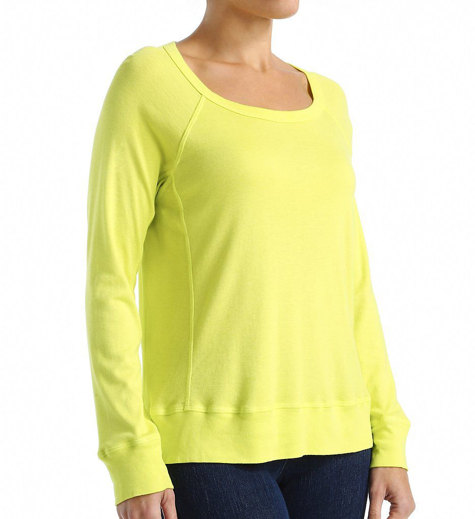 Splendid 1X1 Open Neck Long Sleeve Seamed Tee