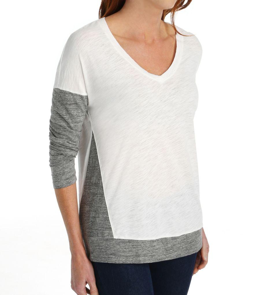 Splendid Slub Heather Grey Jersey Mix Long Sleeve V-Neck