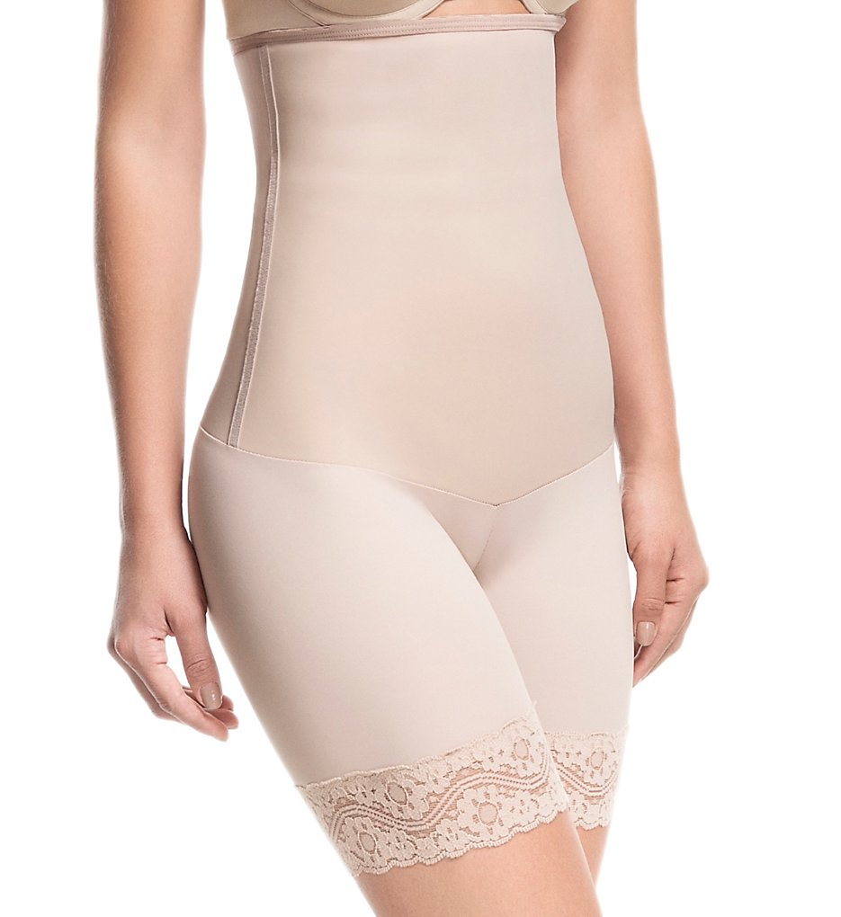 Squeem - Squeem 26AB Sensual Secret High Waist Mid Thigh Shaping Short (Beige 1X)