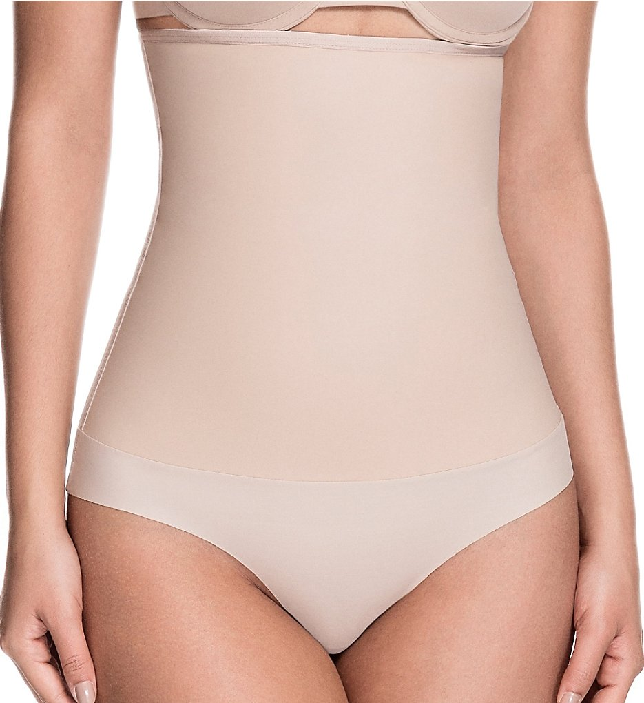 Squeem - Squeem 26AH Celebrity Style High Waist Shaping Thong (Beige 1X)