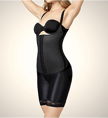 Squeem Sensual Curves Open Bust Mid Thigh Bodysuit