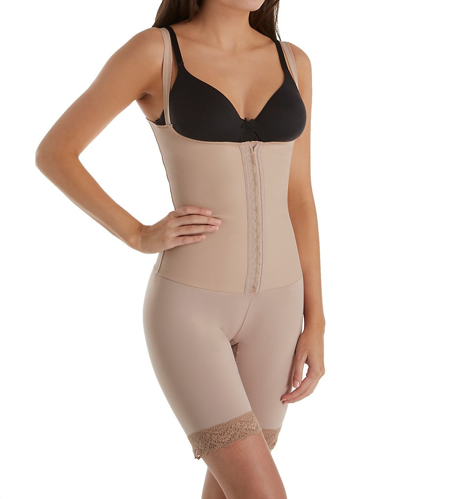 Squeem - Squeem 26SCN Perfectly Curvy Open Bust Mid Thigh Bodysuit (Beige 0)