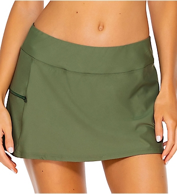 Sunsets Olive Sporty Swim Skirt