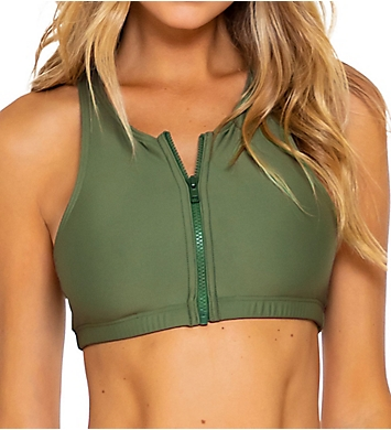 Sunsets Olive Scuba Swim Top