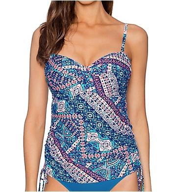 52e5dcaada Sunsets Grand Bazaar Shirred Underwire Tankini Swim Top 76GB ...