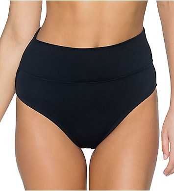 Swim Systems Solid Convertible Roll Down High Waist Swim Bottom