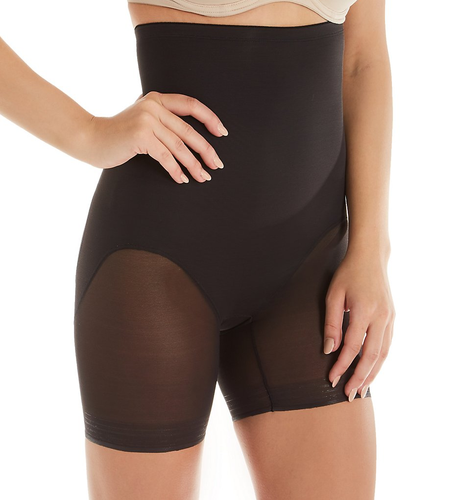 TC Fine Intimates : TC Fine Intimates 4708 Girl Power Hi Waist Sheer Rear Lift Short (Black S)