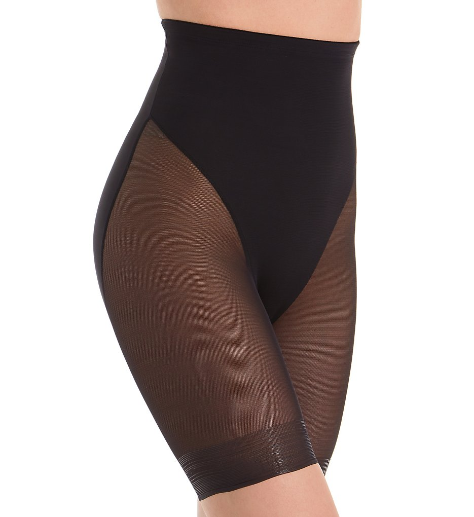 TC Fine Intimates : TC Fine Intimates 4709 Girl Power Hi Waist Sheer Thigh Slimmer (Black S)