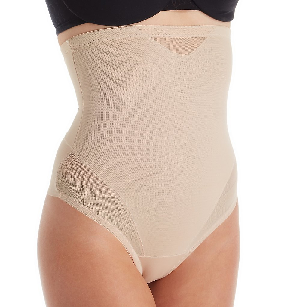TC Fine Intimates - TC Fine Intimates 4778 Sheer Shaping & Comfort Hi-Waist Thong (Nude S)