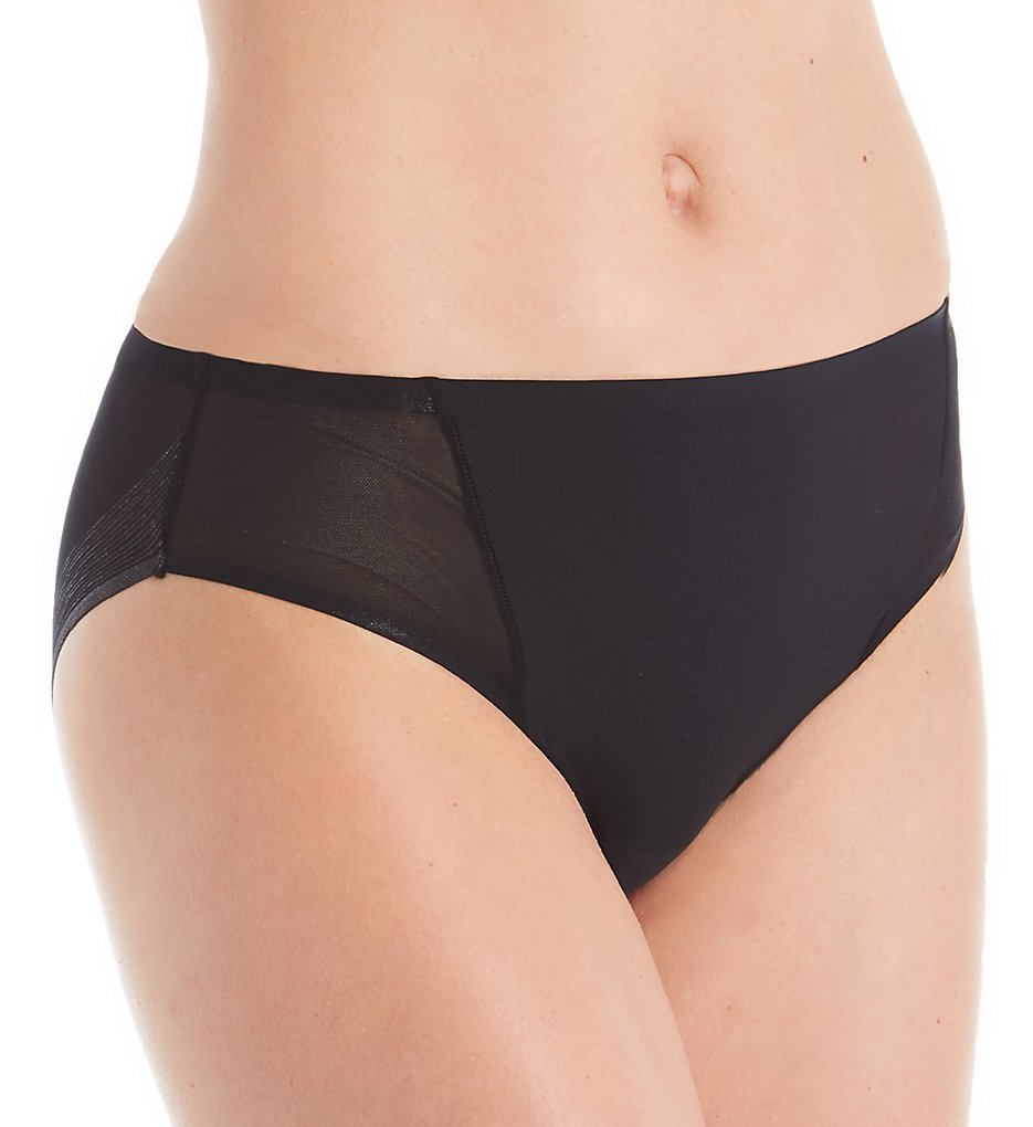 TC Fine Intimates - TC Fine Intimates A4-123 Wonderful Edge Micro Mesh Hipster Panty (Black S)