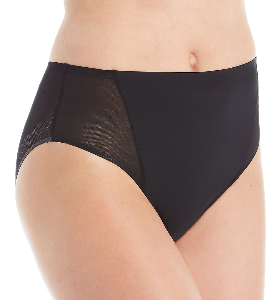 TC Fine Intimates - TC Fine Intimates A4-124 Wonderful Edge Micro Mesh Hi-Cut Panty (Black S)