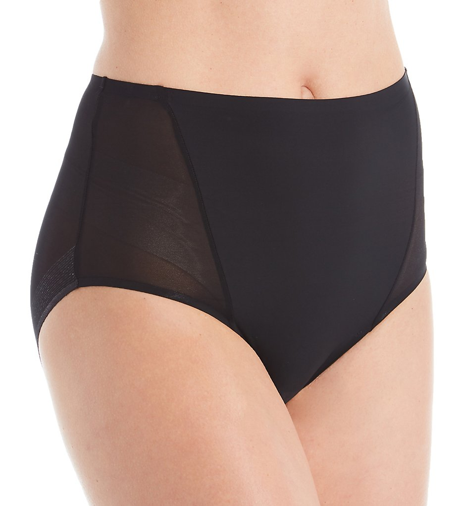 TC Fine Intimates - TC Fine Intimates A4-125 Wonderful Edge Micro Mesh Brief Panty (Black S)