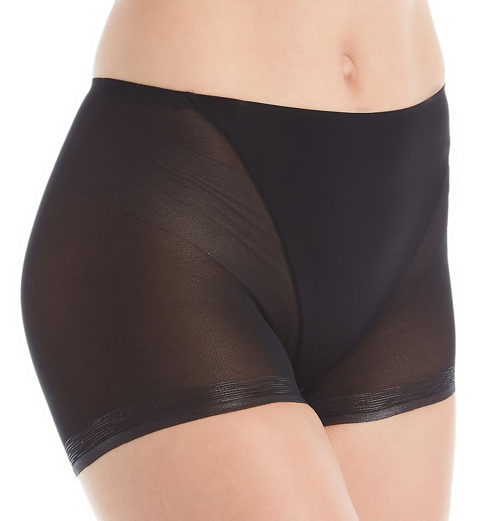 TC Fine Intimates - TC Fine Intimates A4-126 Wonderful Edge Micro Mesh Boyshort Panty (Black S)