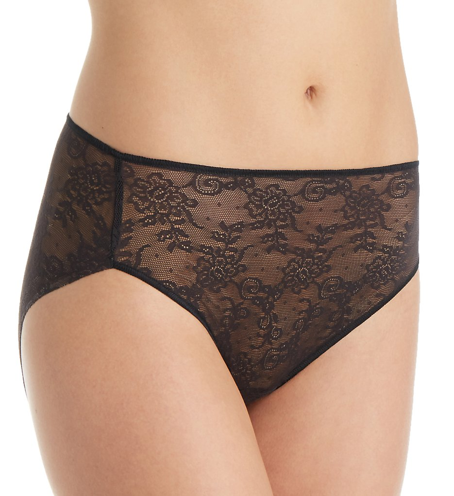 TC Fine Intimates : TC Fine Intimates A4-194 All Over Lace Hi-Cut Brief Panty (Black M)