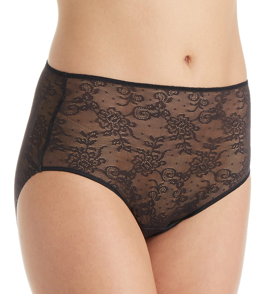 TC Fine Intimates - TC Fine Intimates A4-195 All Over Lace Brief Panty (Black L)