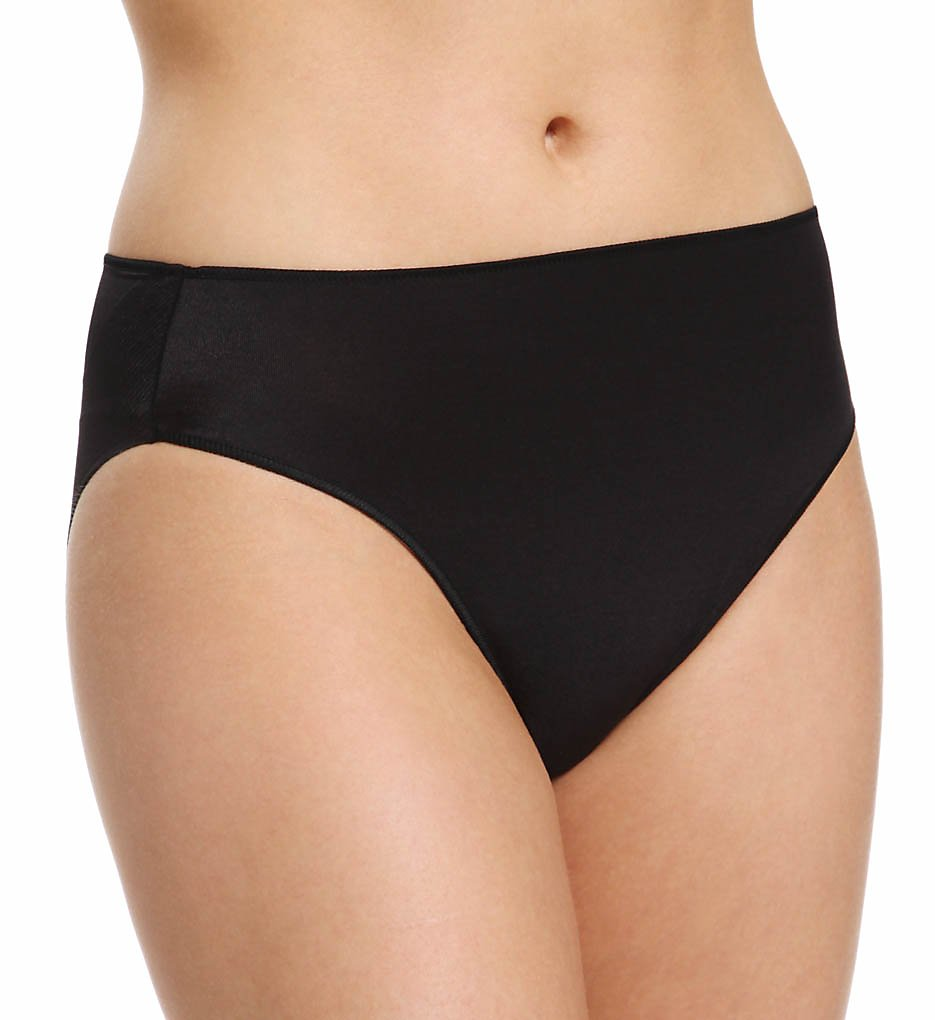 TC Fine Intimates : TC Fine Intimates A404 Microfiber Wonderful Edge Hi-Cut Brief Panty (Black XL)