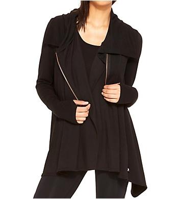 Terez Black Zip Up Drape Jacket