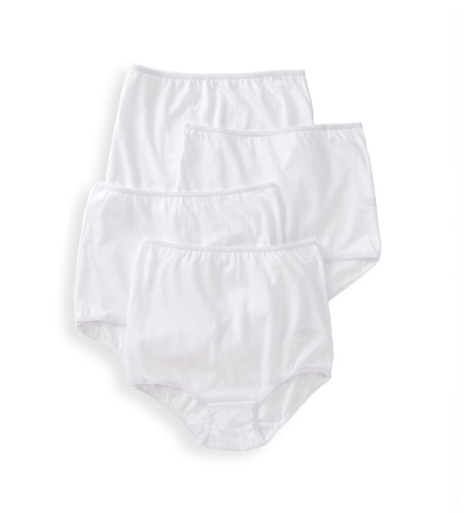 Teri - Teri 122 Cotton Full Cut Brief Panties - 4 Pack (White 5)