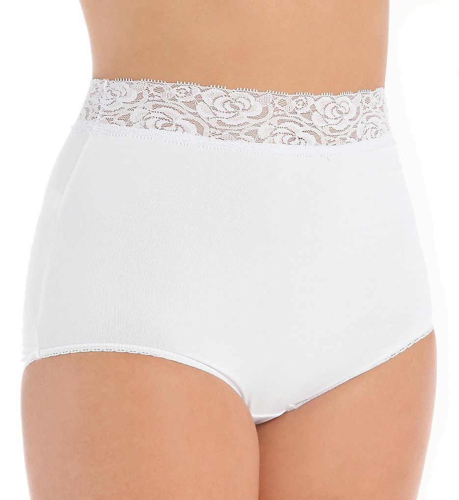 Teri - Teri 313 Grace Lace Trim Microfiber Brief Panty (White 7)