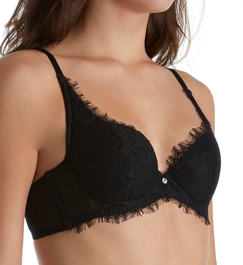 The Little Bra Company >> The Little Bra Company E003E Ethel Petite Eyelash Lace Demi Cup Bra (Black 36A)