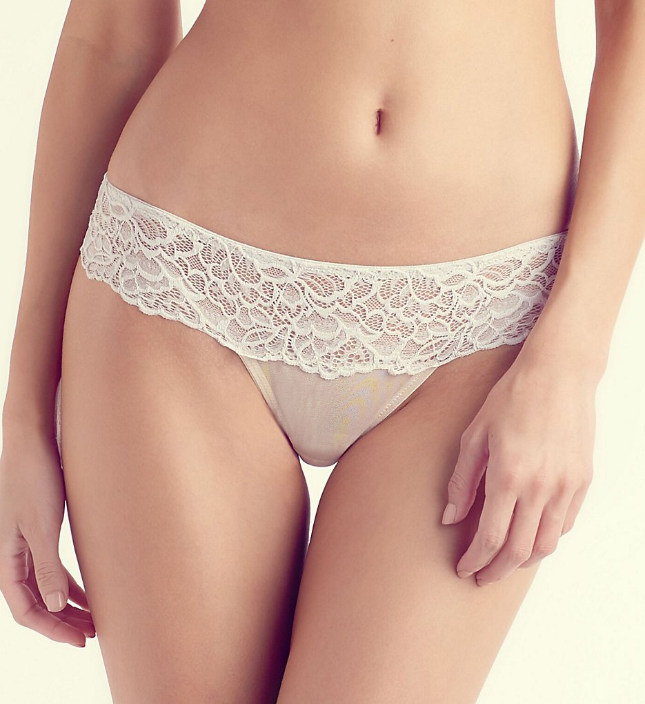 The Little Bra Company - The Little Bra Company PW004T Arielle Petite Lace Thong (Glacier/Angora XS)
