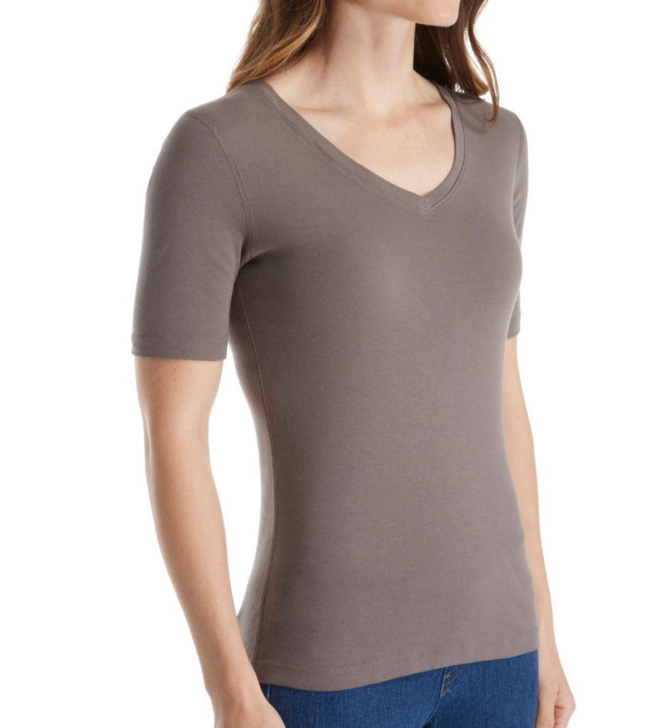 Three Dots Cotton Knit Elbow Sleeve V-Neck Tee