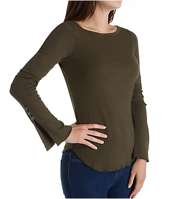 Three Dots Heritage Knit Long Sleeve with Sleeve Detail